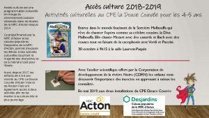thumbnail of Aperçu de la programmation au CPE la Douce Couvée