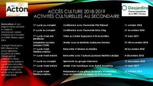 thumbnail of Programmation Accès culture 2018-2019 secondaire